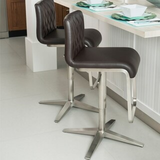 MIX Stainless Steel Faux Leather Diamond Pattern Adjustable-height Swivel Bar Stool