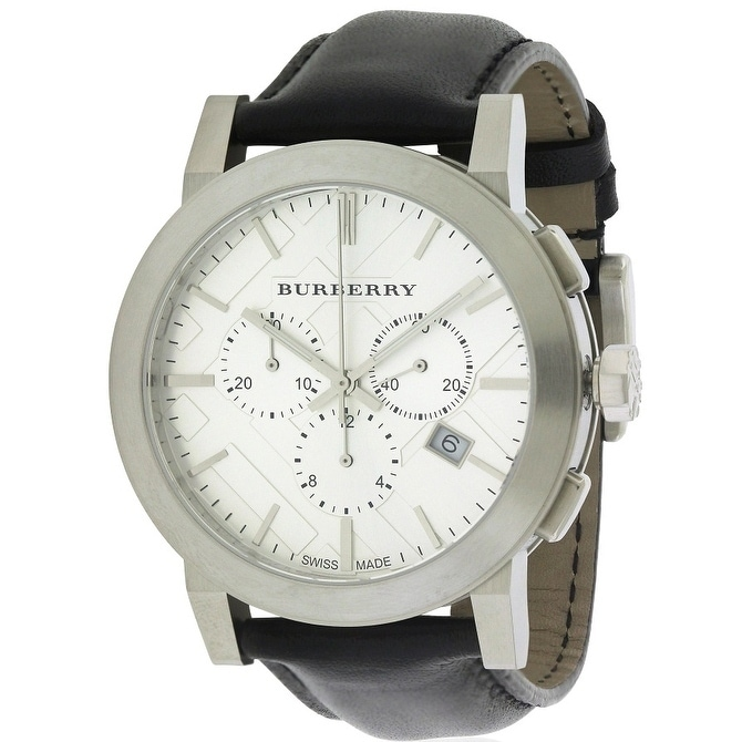 Burberrys Leather Chronograph Mens Watch BU9355, Clear, S...