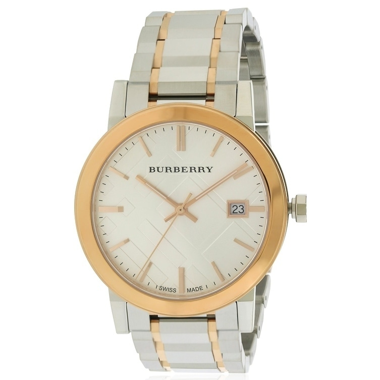 Burberrys Large Check Stamped Two-Tone Ladies Watch BU900...