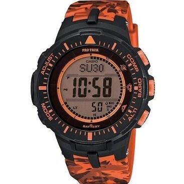 Casio Protrek Solar Triple Sensor Orange Camo Mens Watch ...