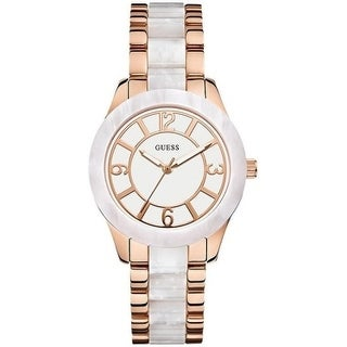 GUESS White and Rose Gold-Tone Ladies Watch