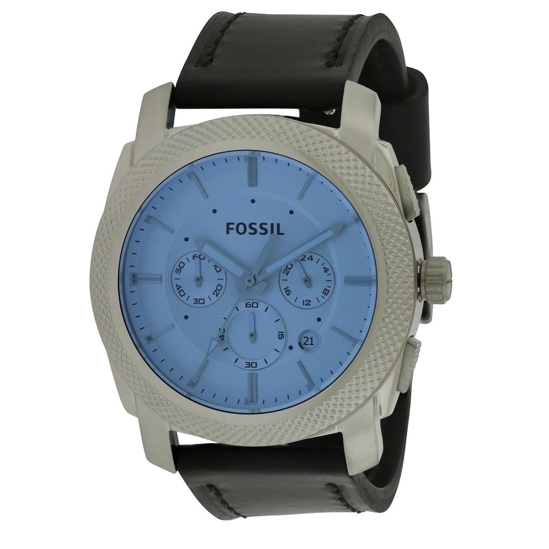Fossil Machine Chronograph Leather Mens Watch FS5160, Blu...