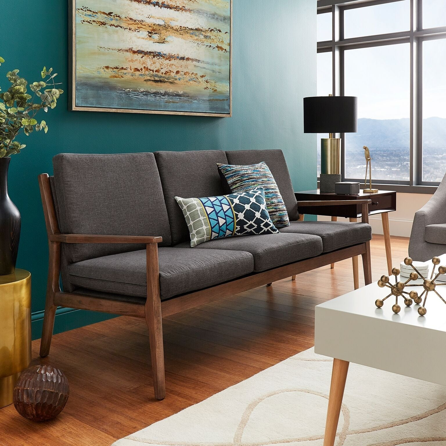 Delilah Mid Century Straight Wood Arm Sofa By Inspire Q Modern