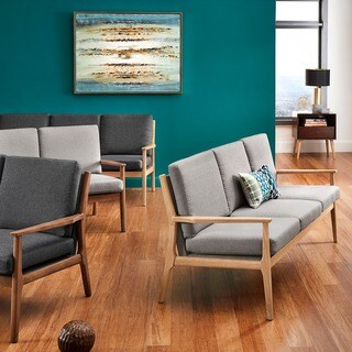Delilah Mid-Century Straight Wood Arm Sofa by iNSPIRE Q Modern
