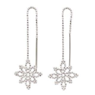 Handmade Sterling Silver 'Silver Snowflakes' Earrings (Thailand)