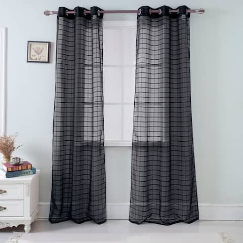 RT Designer's Collection Wanda Box Voile 84-inch Grommet Curtain Panel Pair - (2x) 38 x 84 in.