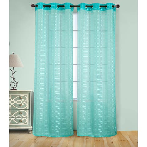 RT Designer's Collection Wanda Box Voile 84-inch Grommet Curtain Panel Pair - (2x) 38 x 84 in. - (2x) 38 x 84 in.