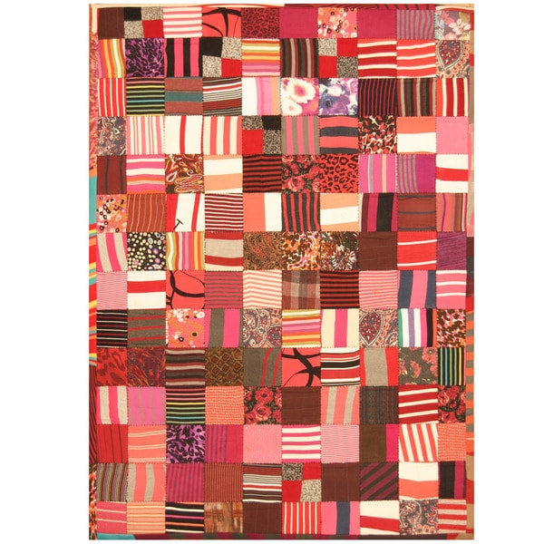 Handmade Memory Foam Cotton Patchwork Rug (India) - 5'4 x 7'6