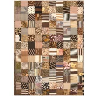 Handmade Herat Oriental Indo Memory Foam Cotton Patchwork Rug (India) - 5'4 x 7'6