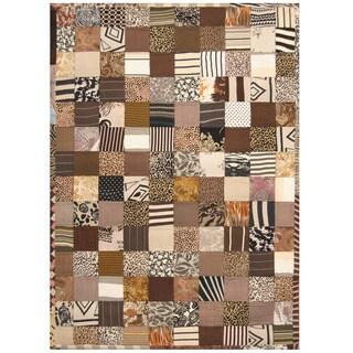 Herat Oriental Indo Hand-stitched Memory Foam Cotton Patchwork Rug (5'4 x 7'6) - 5'4 x 7'6
