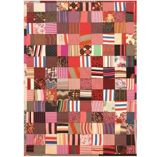 Herat Oriental Indo Hand-stitched Memory Foam Cotton Patchwork Rug - 5'4 x 7'6