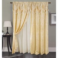 RT Designer Collection Sparta Jacquard 84-inch Double Rod-pocket Curtain Panel