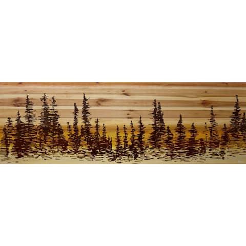 Handmade Pine Tree Sunset Print on Natural Pine Wood
