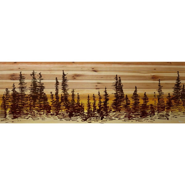 Handmade Pine Tree Sunset Print on Natural Pine Wood