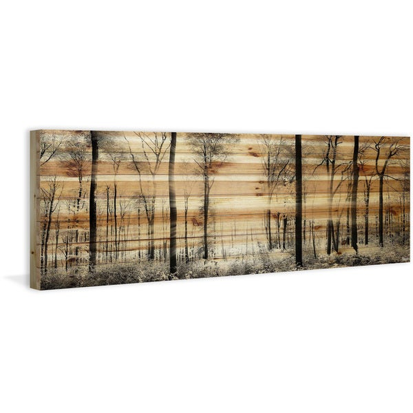 Handmade Panoramic Forest Print on Natural Pine Wood