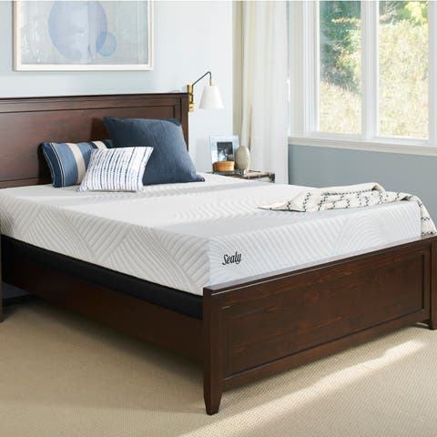 Sealy Conform Essentials 10.5-inch Cushion Firm Gel Memory Foam Mattress and Ease Adjustable Bed Set