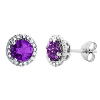 10k White Gold Gemstone Stud Earrings