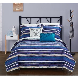 Chic Home Kammi Blue Reversible 5-Piece Quilt Set