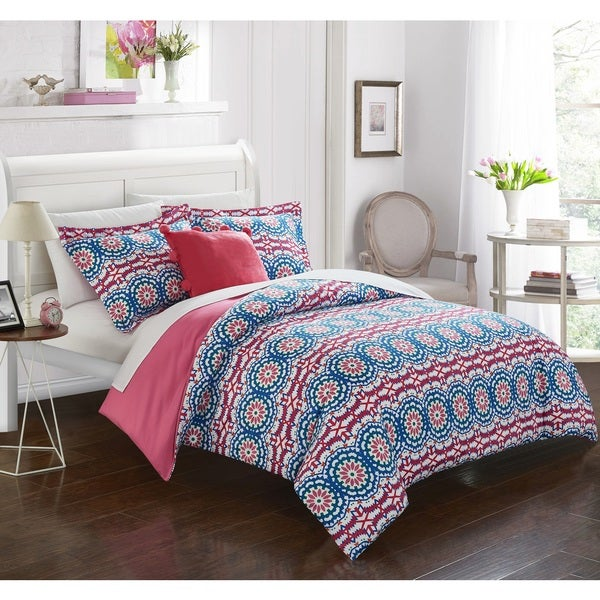 Chic Home Chiko Blue Reversible 4-Piece Duvet Cover Set