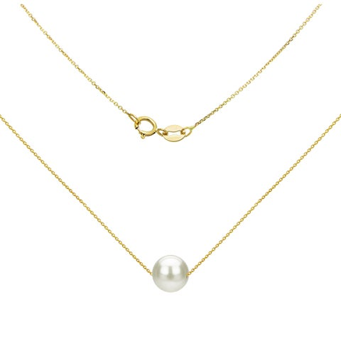 """DaVonna 14K Yellow Gold 8-9mm White Freshwater Pearl Swivel Pendant Necklace, 18"""""""