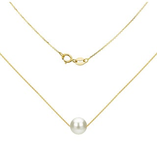 DaVonna 14K Yellow Gold 8-9mm White Freshwater Pearl Swivel Pendant Necklace, 18""