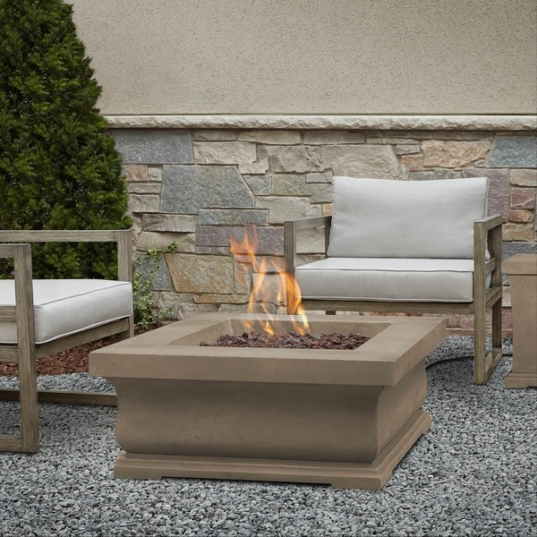 Shop Treviso Square Gas Fire Pit Dove Gray By Real Flame Free
