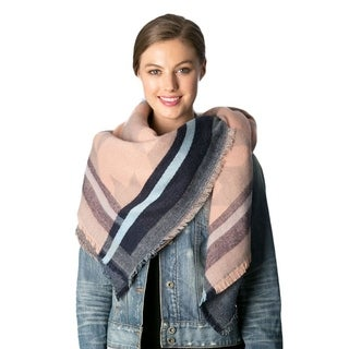 OEM Women's Multicolor Acrylic Houndstooth Patterned Square Blanket Winter Scarf