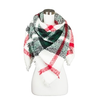 OEM Women's Soft Textured Plaid Pattern Square Blanket Winter Scarf