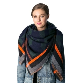 OEM Women's Multi-color Houndstooth Patterned Square Acrylic Blanket Winter Scarf