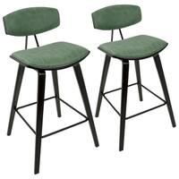 "Damato 26"" Counter Stool with Faux Suede Upholstery  (Set of 2)"