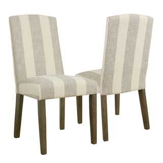 HomePop Curved Back Parsons Chair - Grey Stripe (set of 2)