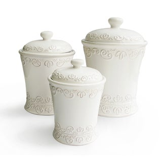 American Atelier Bianca Scroll White Canisters (Set of 3)