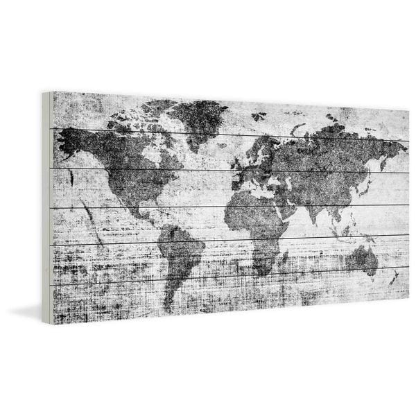 Handmade Lost in the World Print on White Wood