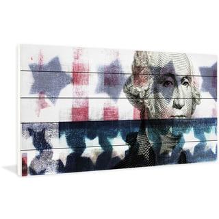 Handmade Washington Print on White Wood