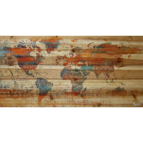 Handmade Warm World Print on Natural Pine Wood