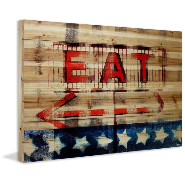 Handmade Eat Print on Natural Pine Wood