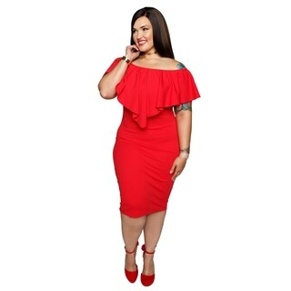 Xehar Womens Plus Size Off Shoulder Popover Sheath Dress
