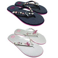 Ladies Striped Beads & Buttons Flip-Flops