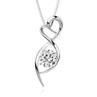 Charles & Colvard 14k White Gold 4/5ct DEW Forever Brilliant Moissanite Heart Pendant