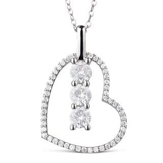 Charles & Colvard 14k White Gold 1 1/4ct DEW Forever Classic Moissanite Three Stone Heart Pendant