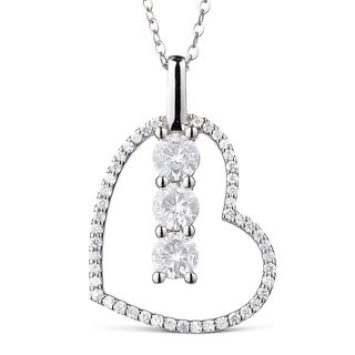 Charles & Colvard 14k White Gold 1 1/4ct DEW Forever Classic Moissanite Three Stone Heart Pendant