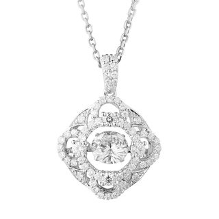 Charles & Colvard Sterling Silver 1 3/4ct DEW Forever Classic Moissanite in Motion Halo Pendant - White
