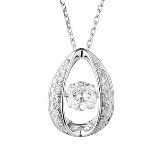 Charles & Colvard Sterling Silver 1 1/4ct DEW Forever Classic Moissanite in Motion Halo Pendant - White