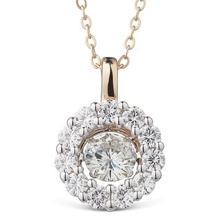 Charles & Colvard 14k Two-tone Gold 1 1/4ct DEW Forever Brilliant Moissanite in Motion Halo Pendant - White