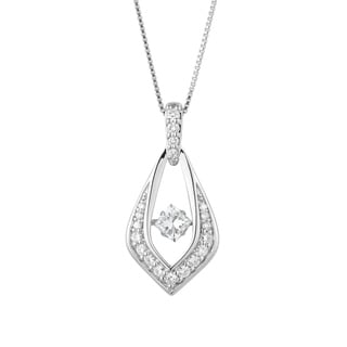 Charles & Colvard Sterling Silver 1ct DEW Forever Classic Moissanite in Motion Drop Pendant - White