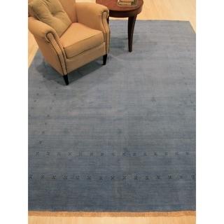EORC Handmade Blue Wool Traditional Solid Lori Baft Rug (6'x9')
