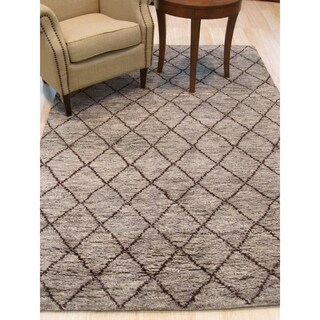 EORC Grey Wool Hand-knotted Transitional Trellis Moroccan Rug (5' x 8')