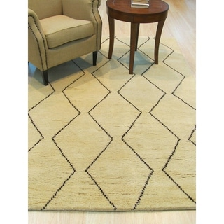 Hand-knotted Wool Ivory Transitional Trellis Moroccan Rug (5' x 8')