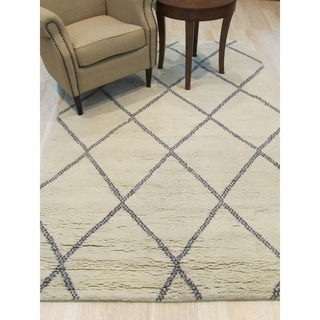 EORC Moroccan Hand-knotted Wool Ivory Transitional Trellis Rug (5'x8')