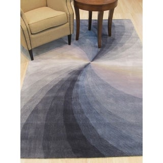 EORC Contemporary Hand-tufted Blue Wool Abstract Swirl Rug (5'x8')